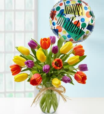 Happy Birthday Tulips Mylar Balloon
