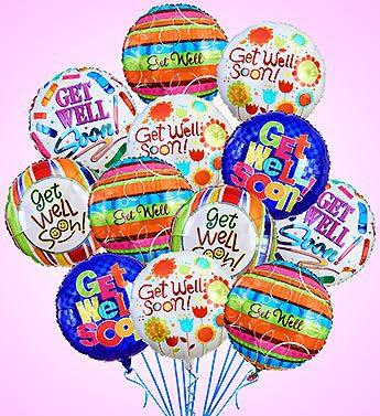 Get Well Soon 12 Balloon Bouquet