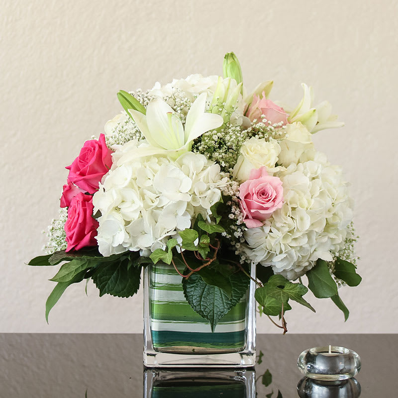 Garden Dream Hydrangea Lilies And Roses Form An Ethereal Dream Work