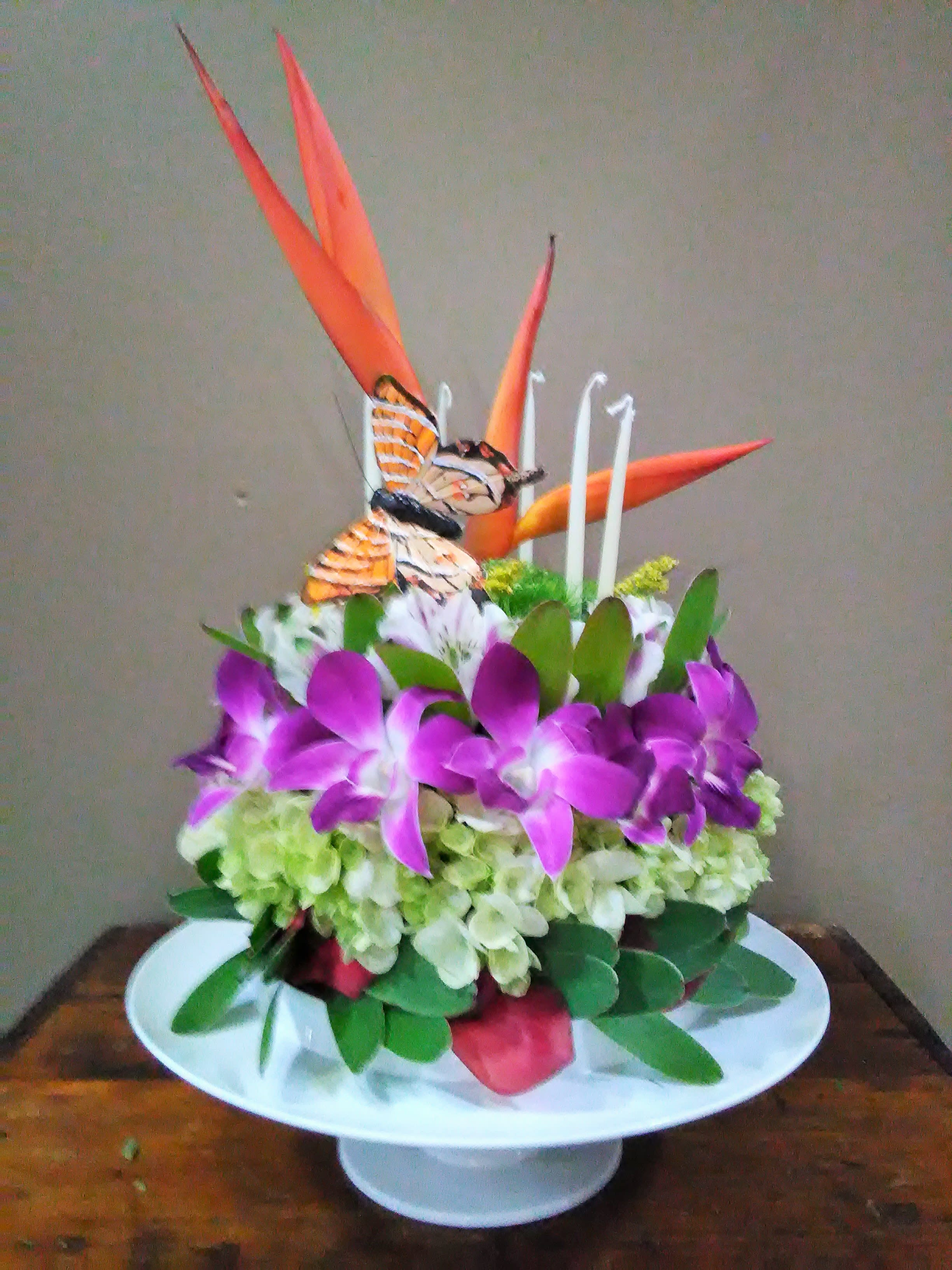 Tropical Birthday Cake With Pedestal And Box