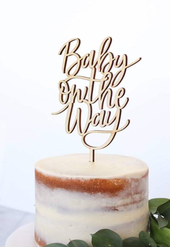 Baby On The Way Wooden Cake Topper
