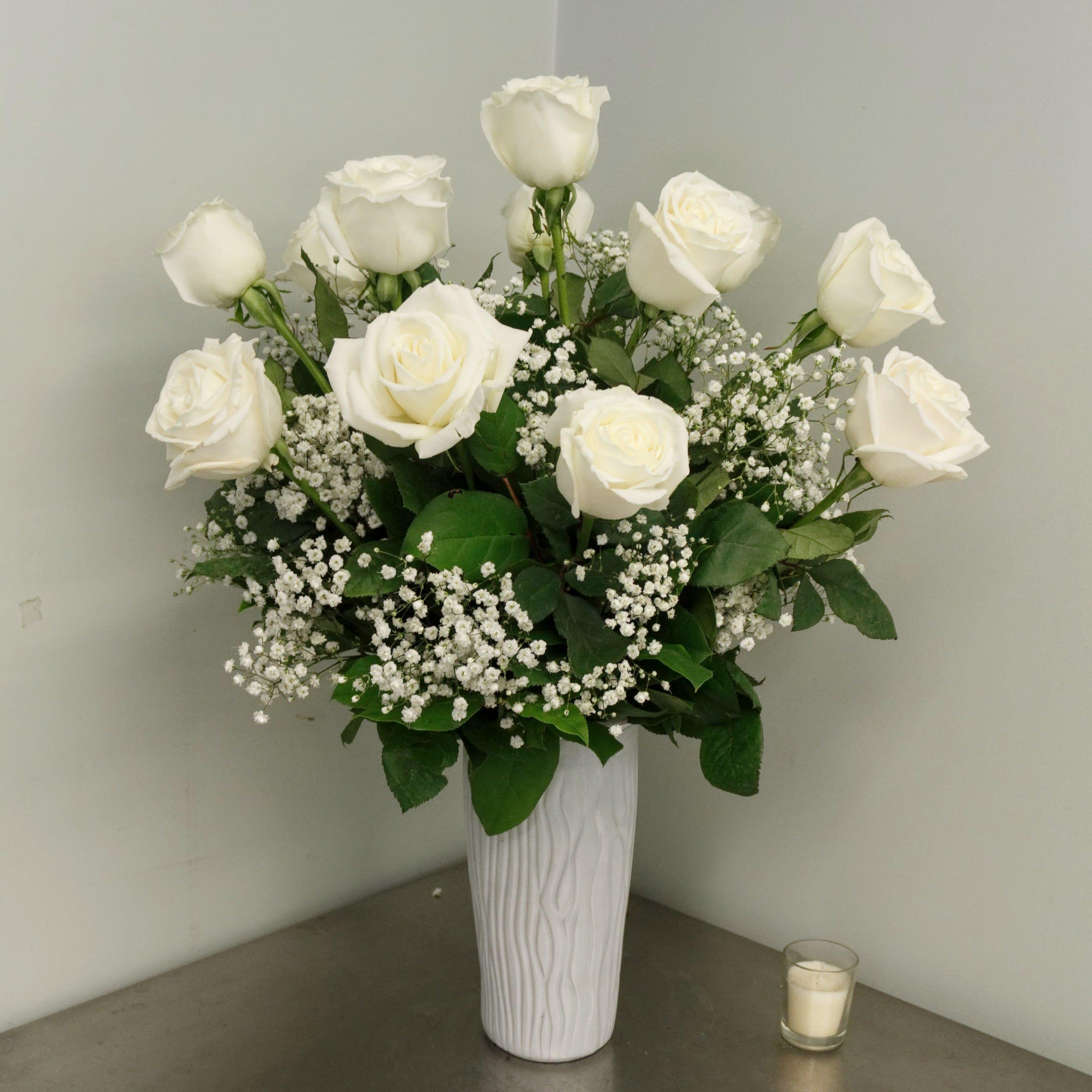 1 Dozen Premium Long Stem White Valentine Roses In Peabody Ma