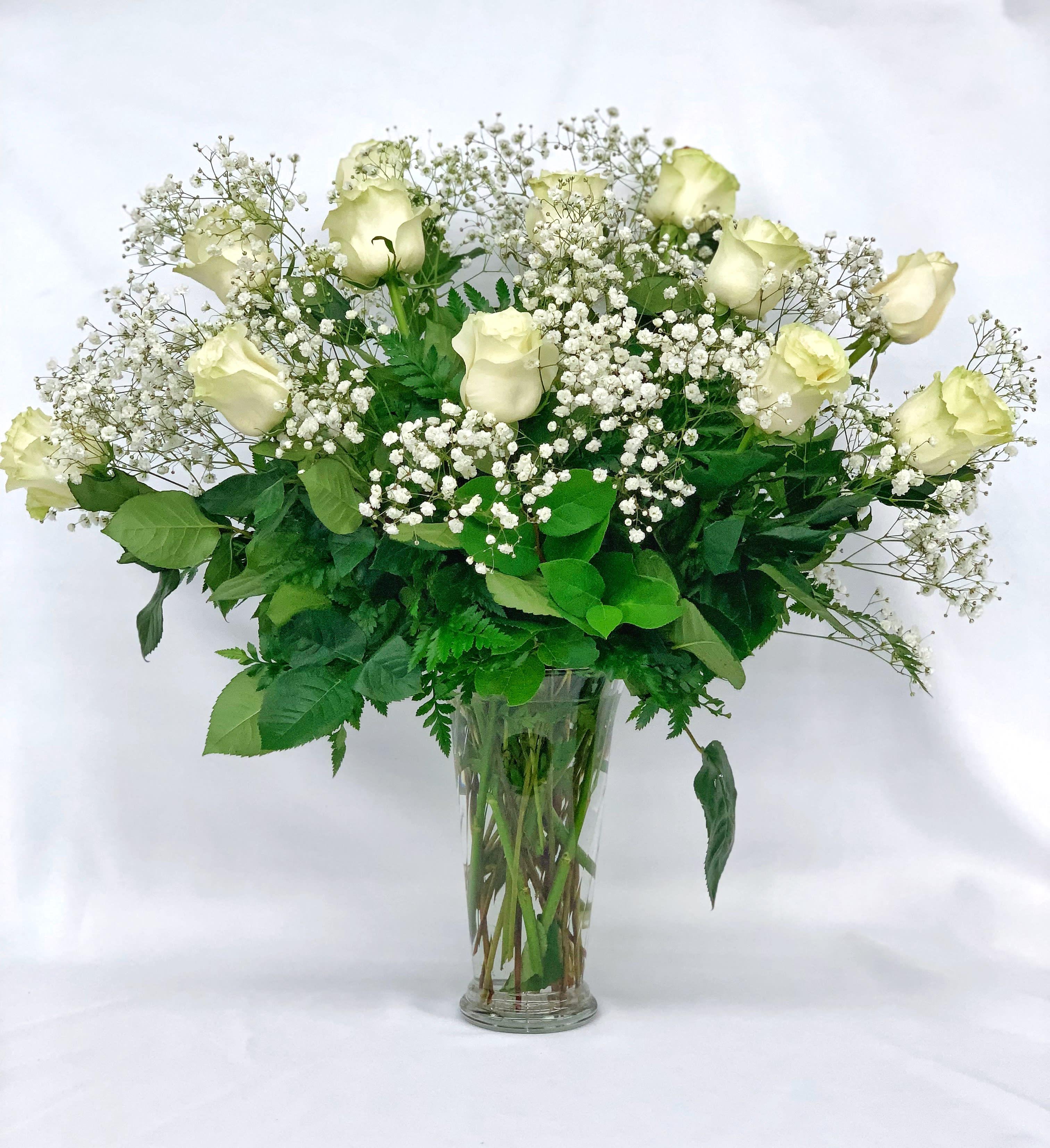 Dozen Long Stem White Roses By Springdale Florist Garden Center