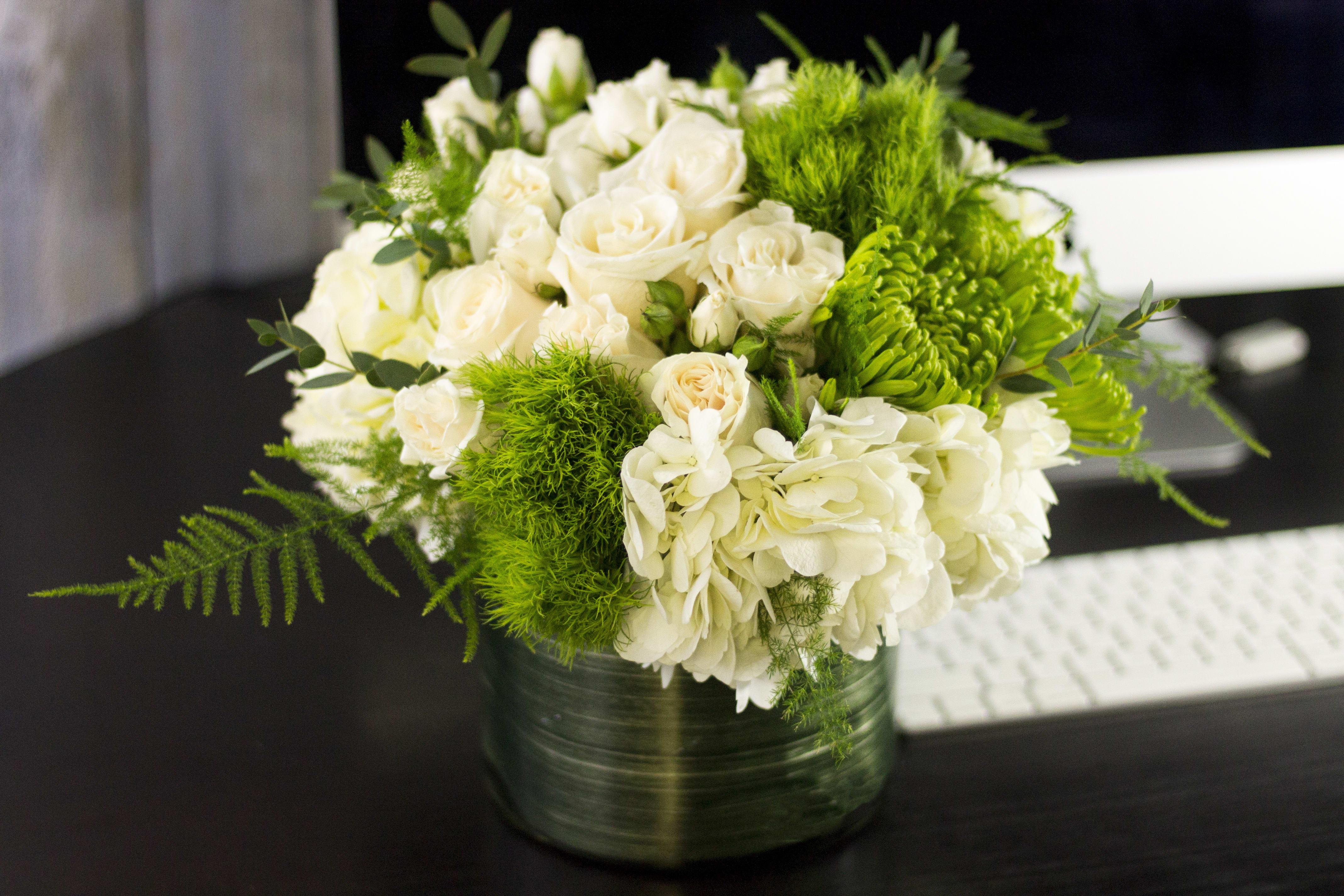Green and White Flower Arrangement