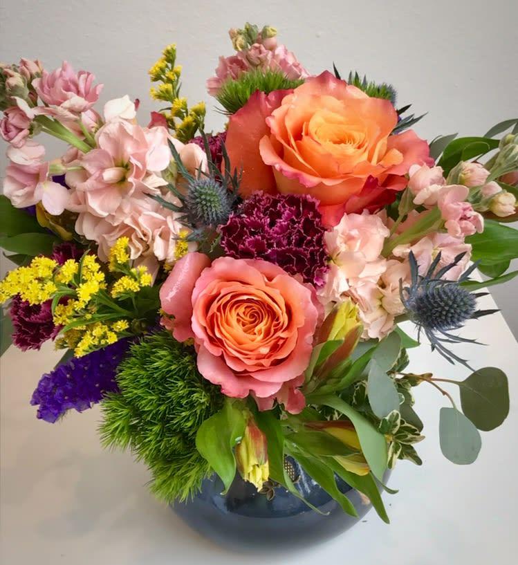 Roses Stock Carnations Thistle In Hays Ks Regeenas Flowers