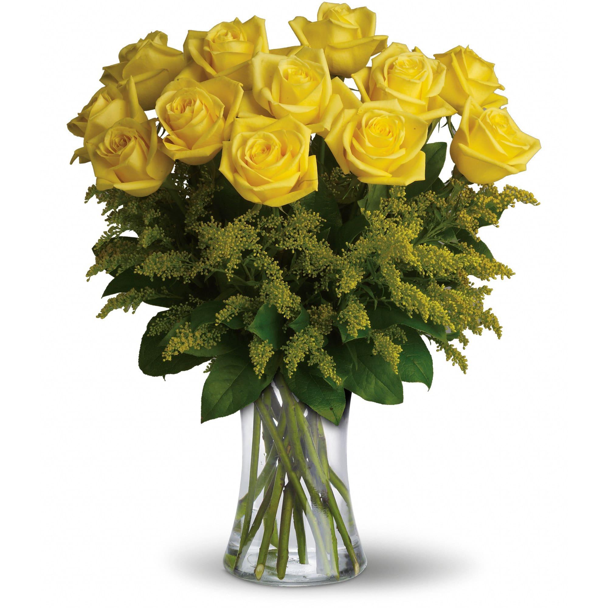 Rosy Glow Bouquet 12 Yellow Roses In Pratt Ks The Flower Shoppe