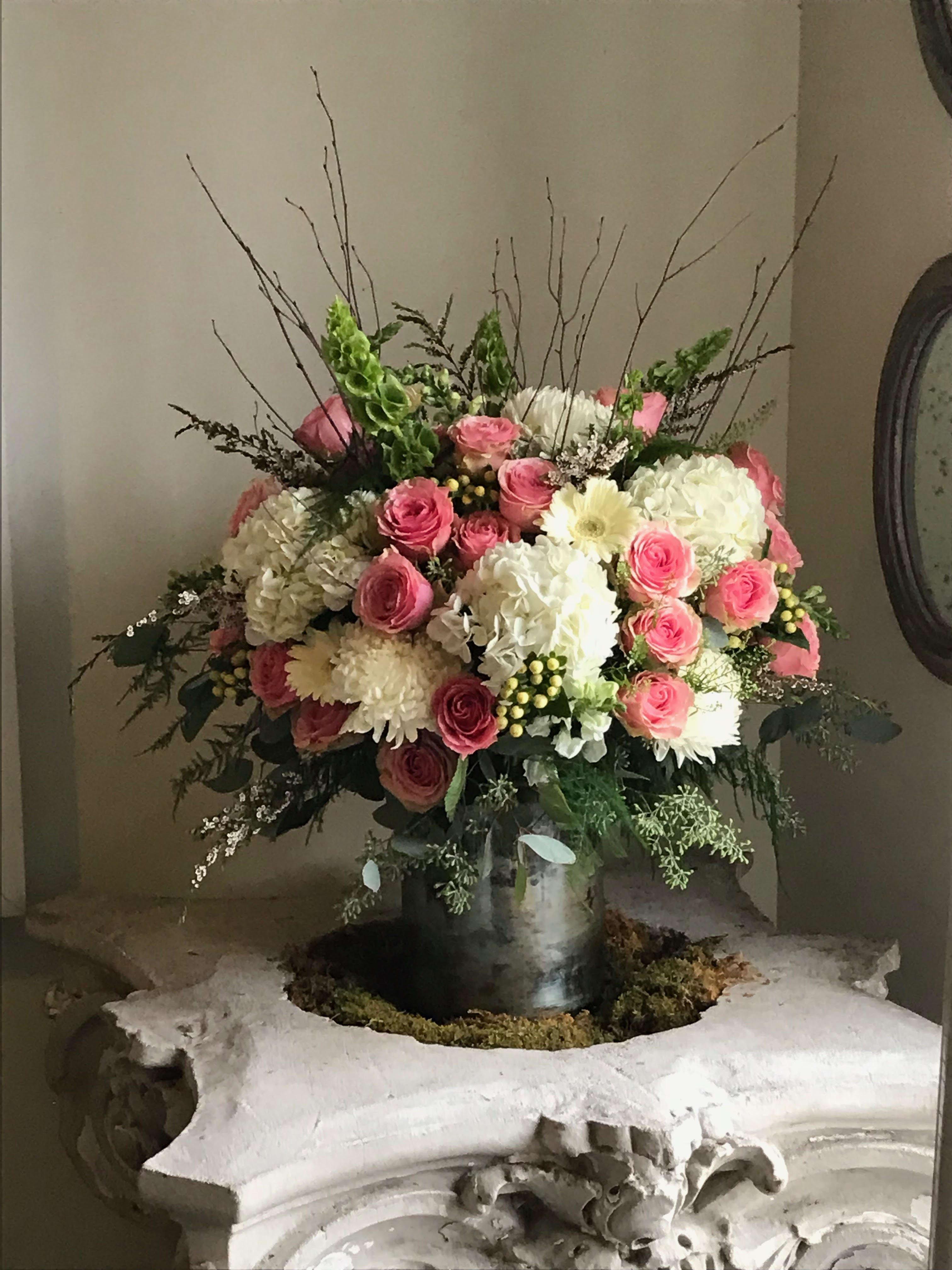 Hydrangea Spray Roses Bells Of Ireland Hypericum Birch Branch