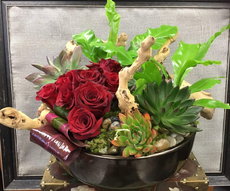 Succulent Garden With Roses By Heaven Sent Design Floral Studio