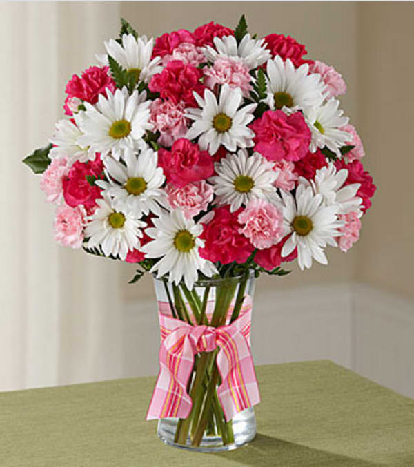 Vase Of Pink Carnations Daises And Mini Roses In A Vase In