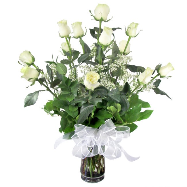 Ecuadorian Long Stem White Roses Vase In San Diego Ca House