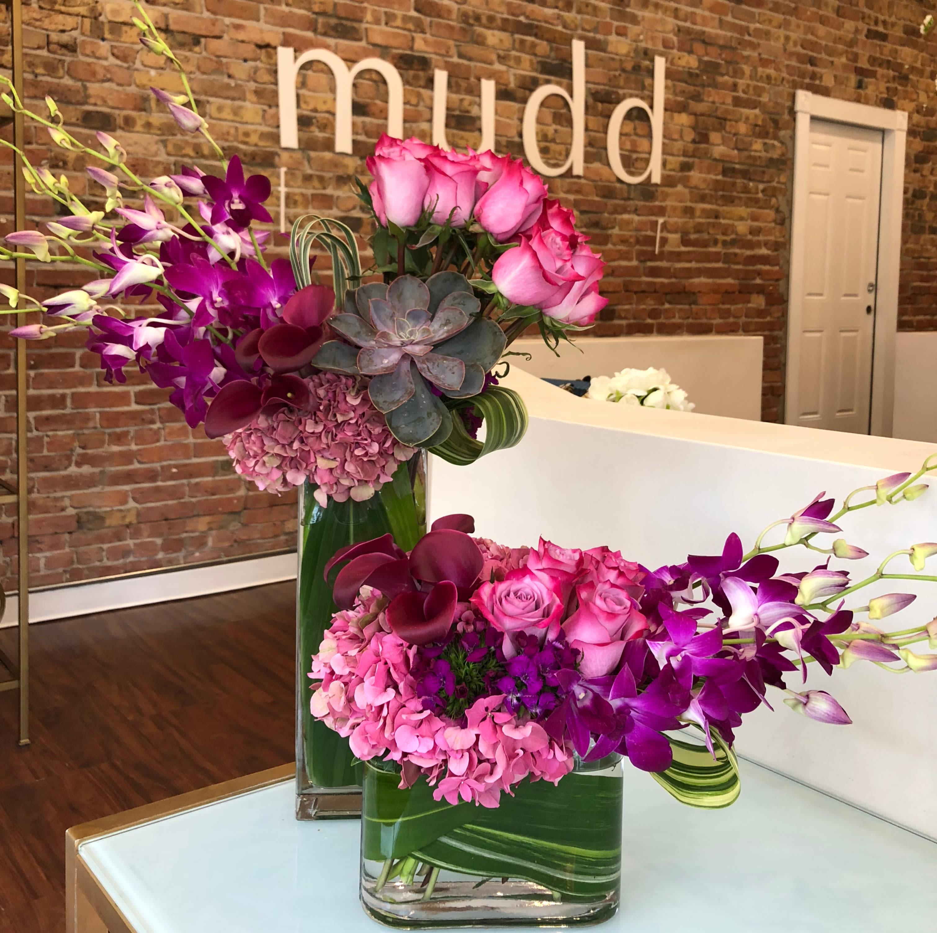 Signature Duo Of Purple Flowers In Chicago Il Mudd Fleur