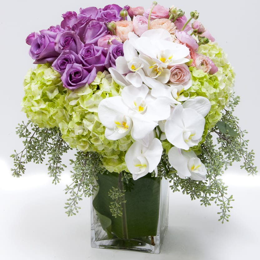 Purple Roses Green Hydrangea And Pink Seasonals In Zionsville In