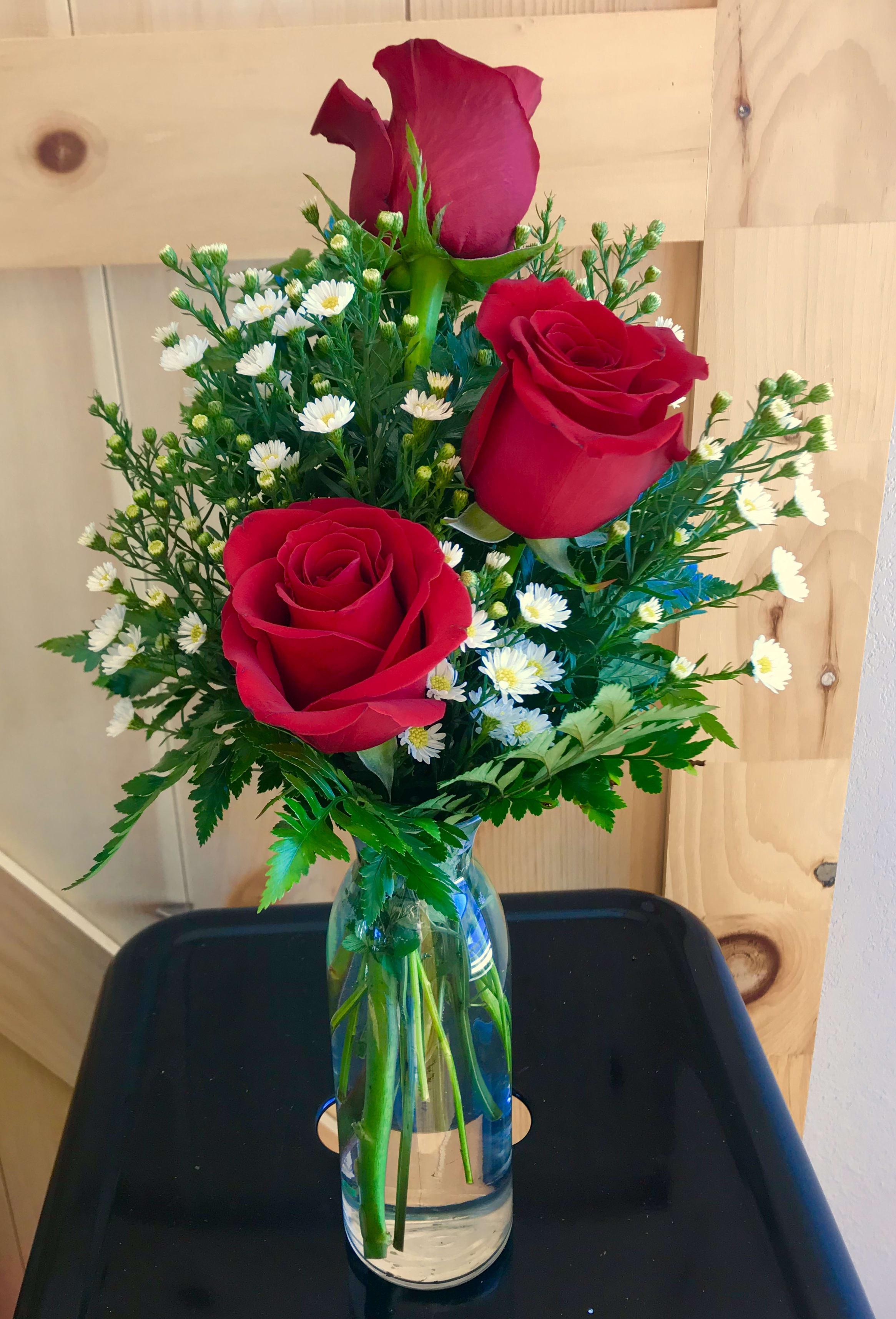 3 Elegant Roses In A Vase In Gillette Wy Crazy Daisy Floral