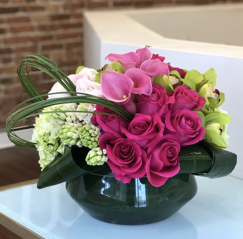Pink Calla Lilies Roses Hyacinth Hydrangea And Cymbidium Orchids