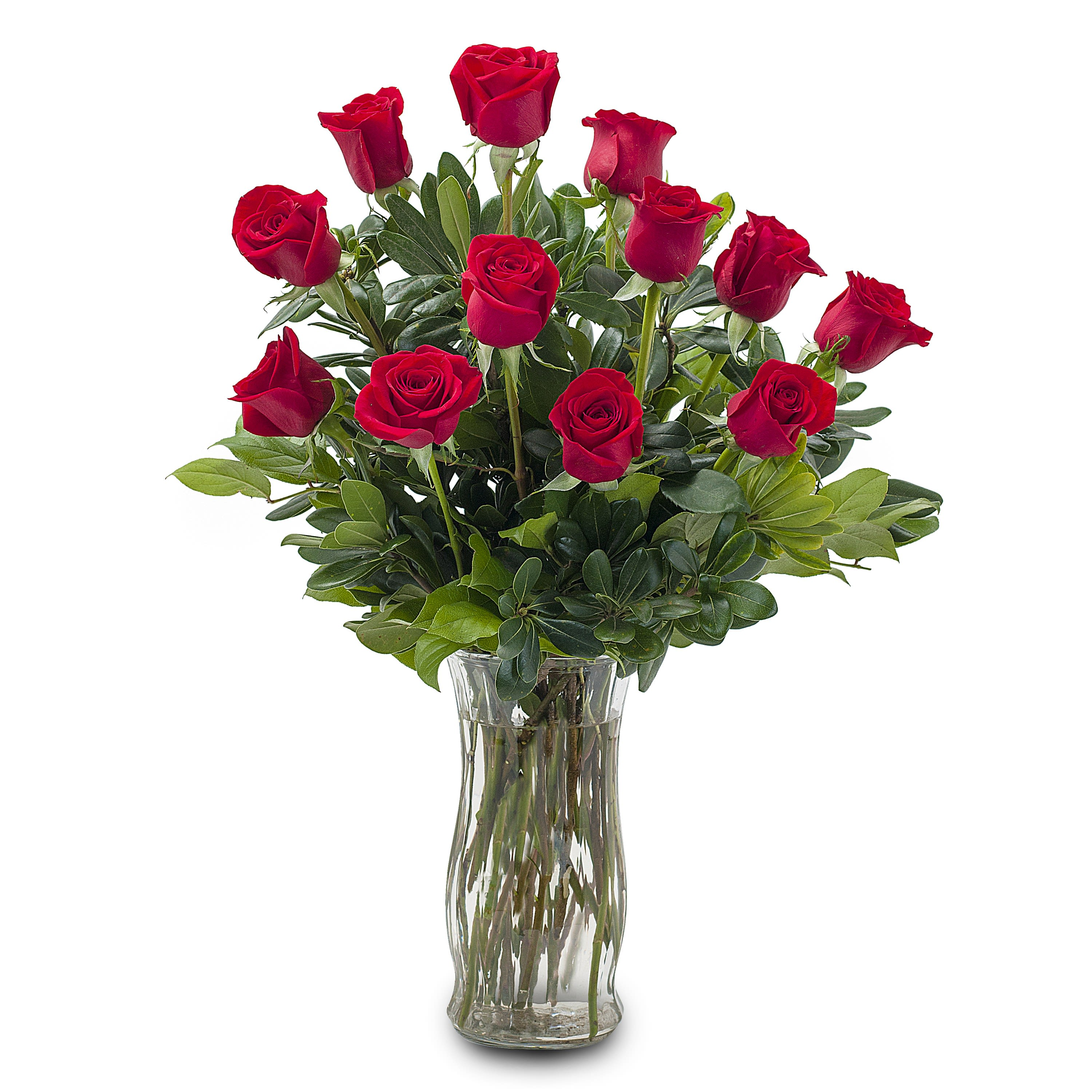 Classic Romance Beautiful Red Roses Lush Accents in a Vase 3 Sizes Available - Red Rose Delivery ...