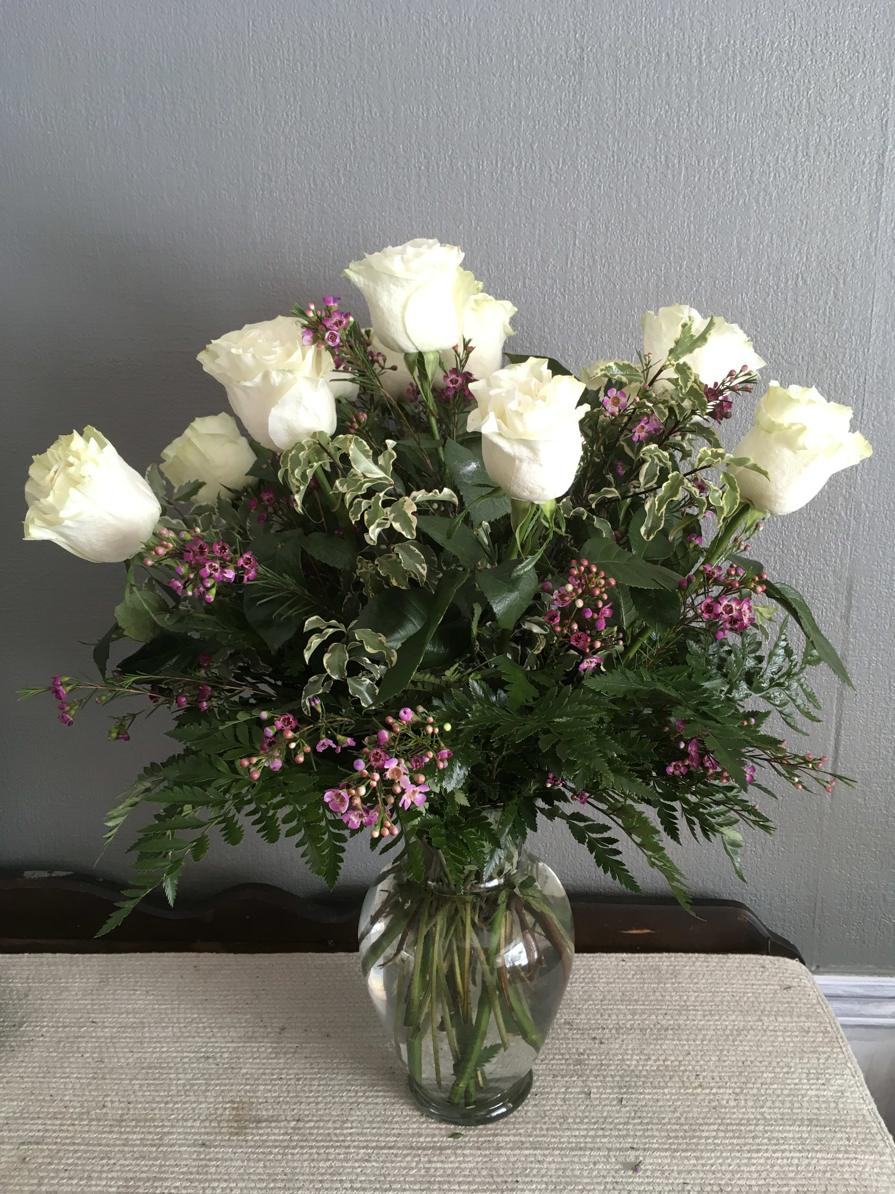 A Dozen Long Stem White Roses In Cambridge Wi Belle Floral And