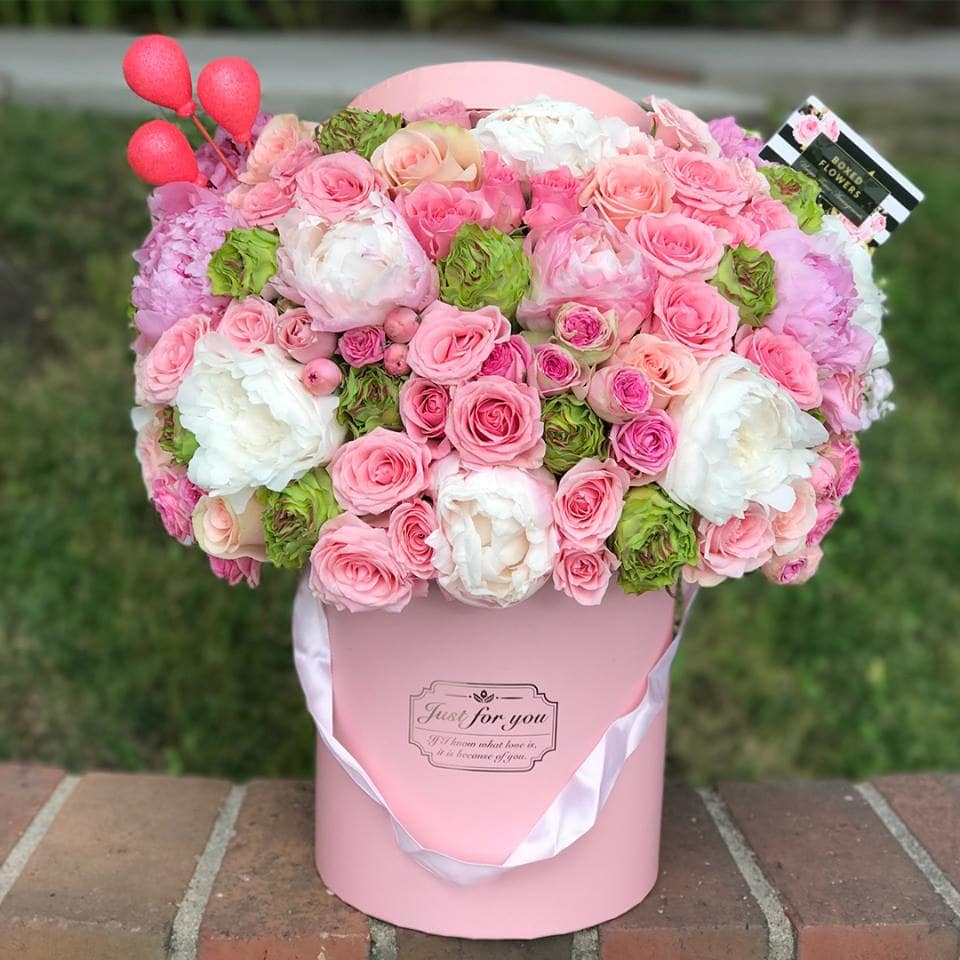 The Birthday Box Of Roses And Peonies By Boxed Flowers And Sweets