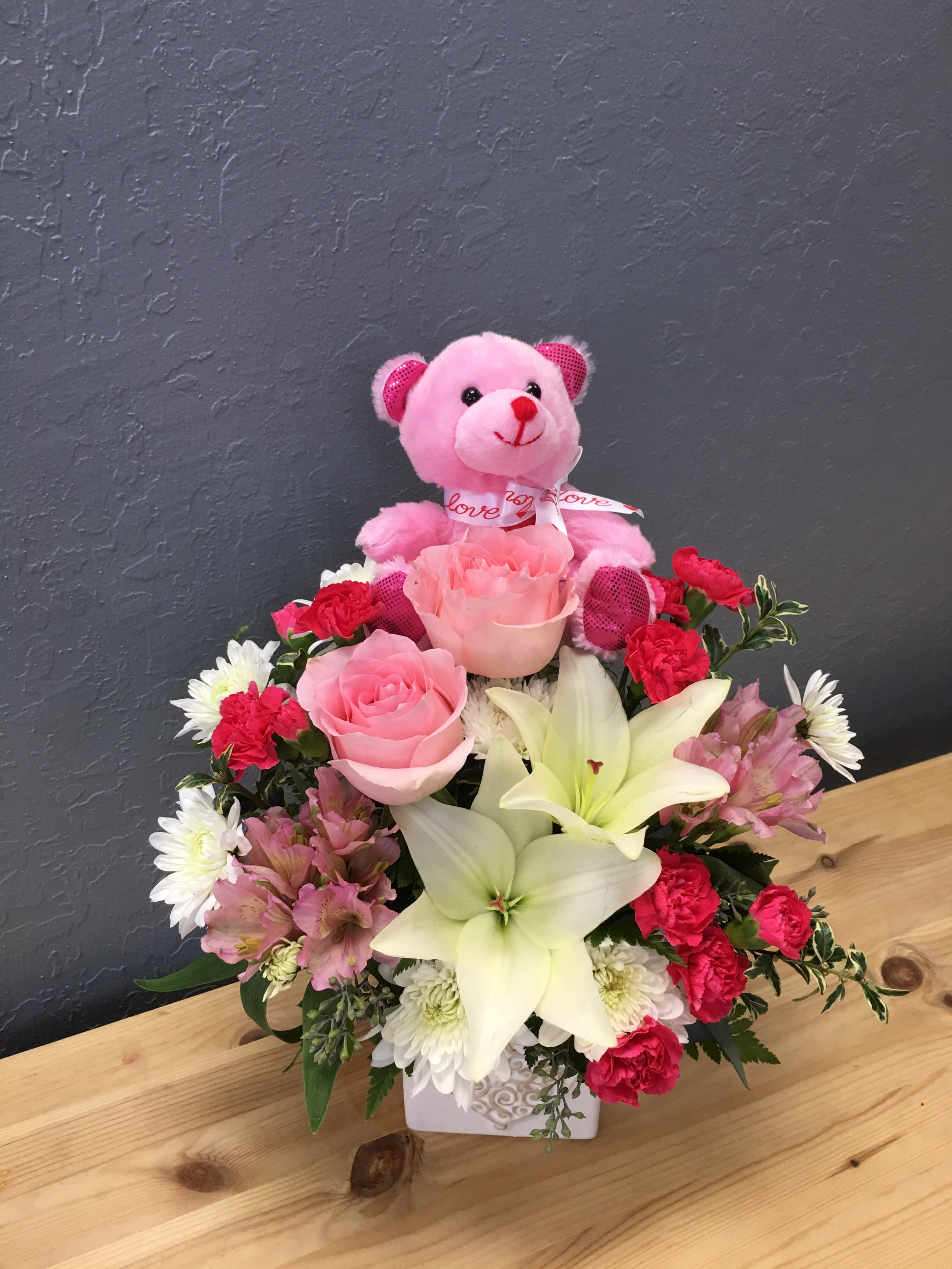 Lovely Pink And White Bouquet With Pink Bear In San Jose Ca La