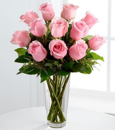 Pink Roses Vase By Paradise Flower Market
