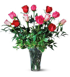 A Dozen Multi Colored Roses In Florence Al Dean S Florist