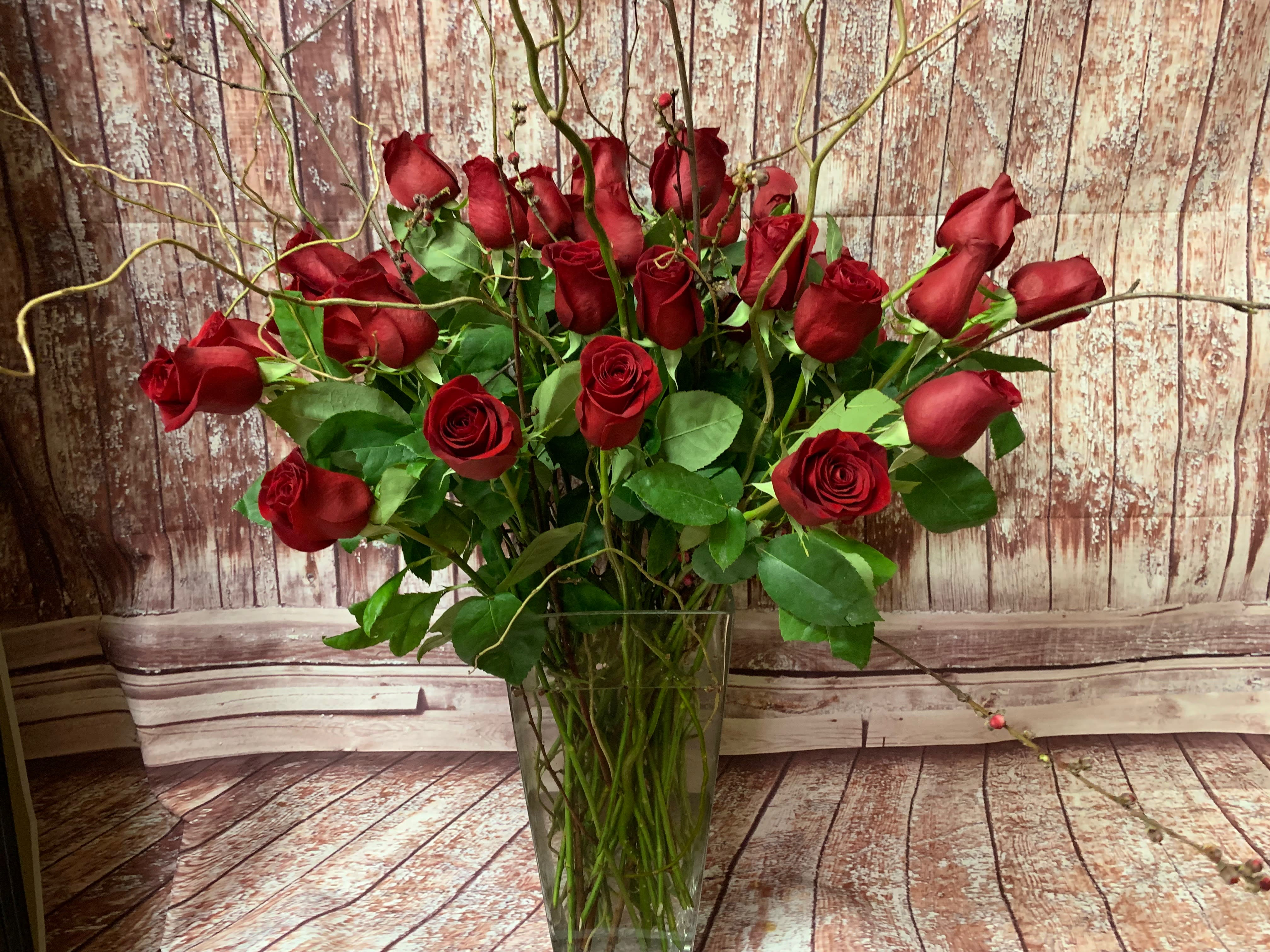 Three Four Or Five Dozen Red Roses By Elizabeths Flowers