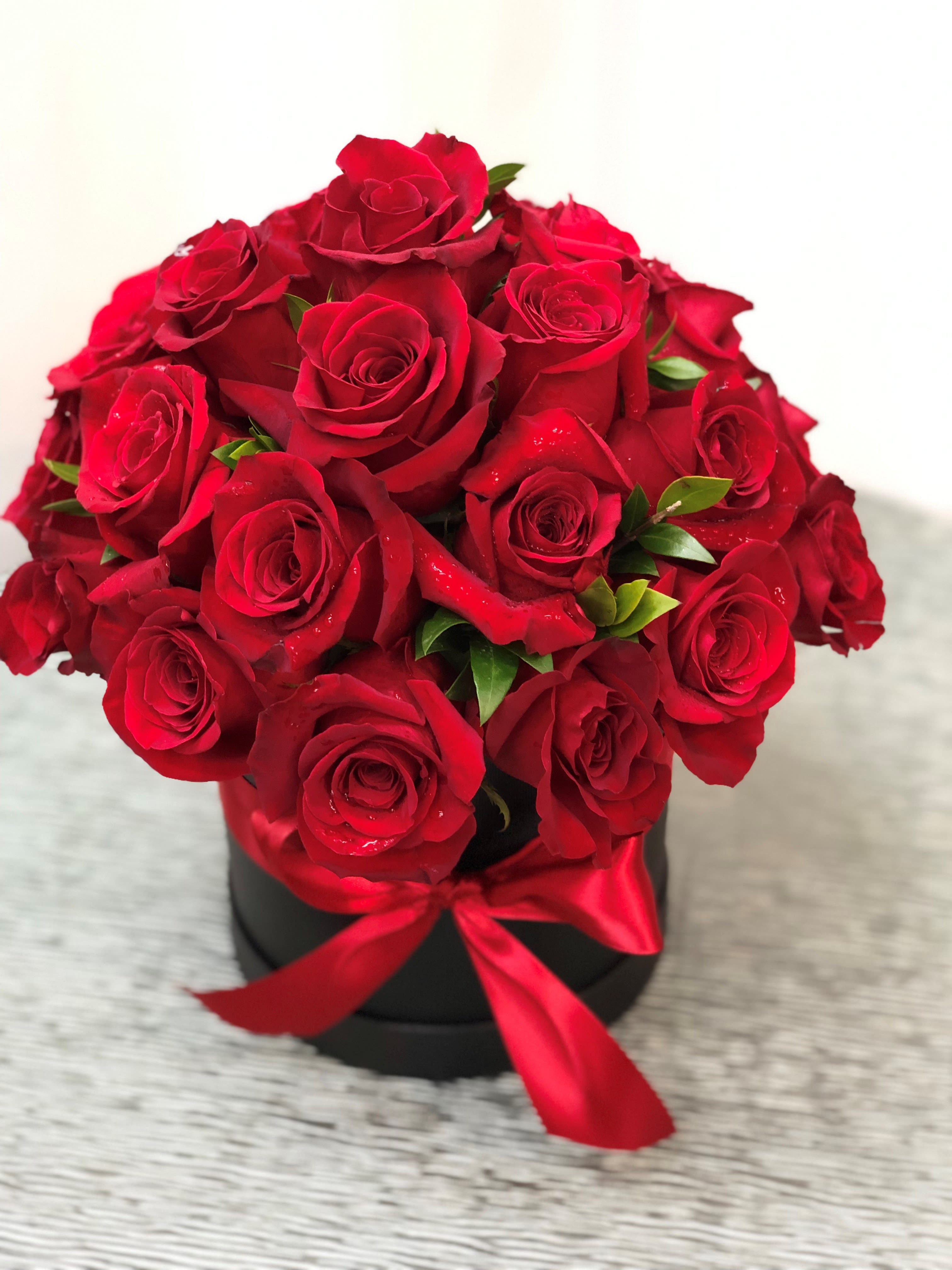 Fresh Red Rose Box Arrangement In Jackson Heights Ny Ultima Florals