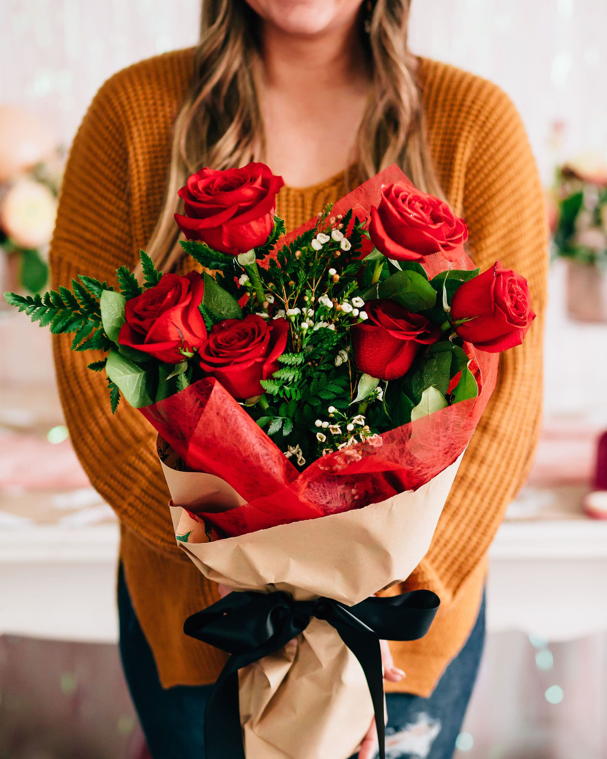 1 2 Dozen Roses Hand Wrapped Bouquet Pick Up Only In