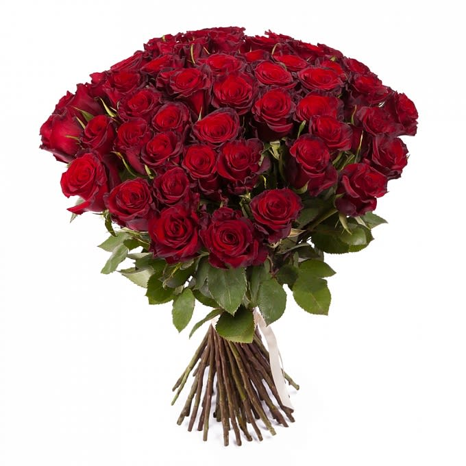 Romantic Red Roses By Snowdrop Flowers
