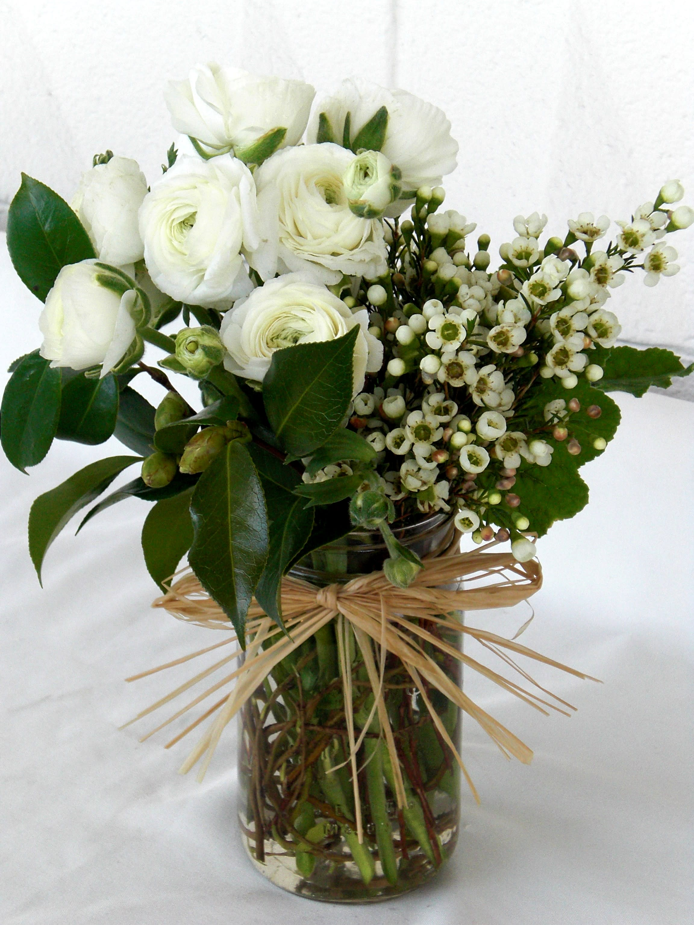 Simply White Ranunculus In Los Angeles Ca Floral Design By