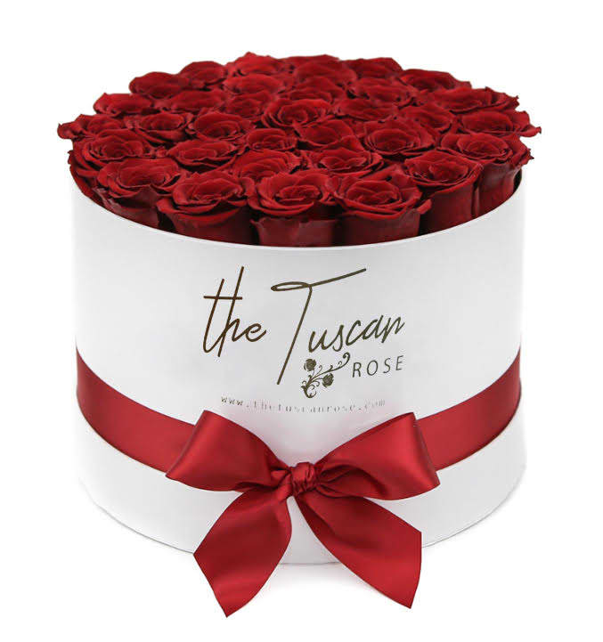 Red Rose Luxury Flower Bouquet Box White By The Tuscan Rose Florist