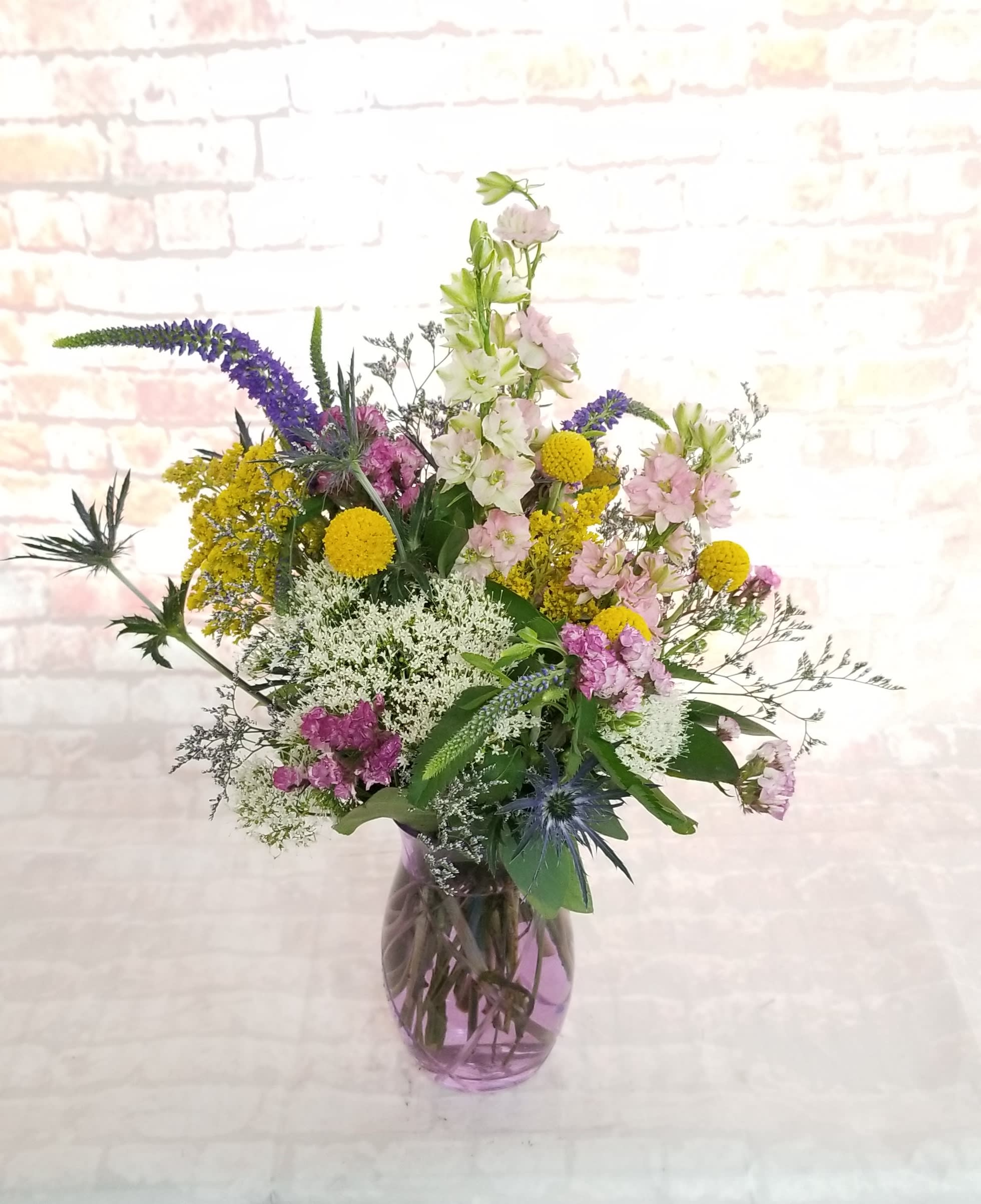 Happy Fields - Select this happy combination of field flowers. Blooms include larkspur, veronica
