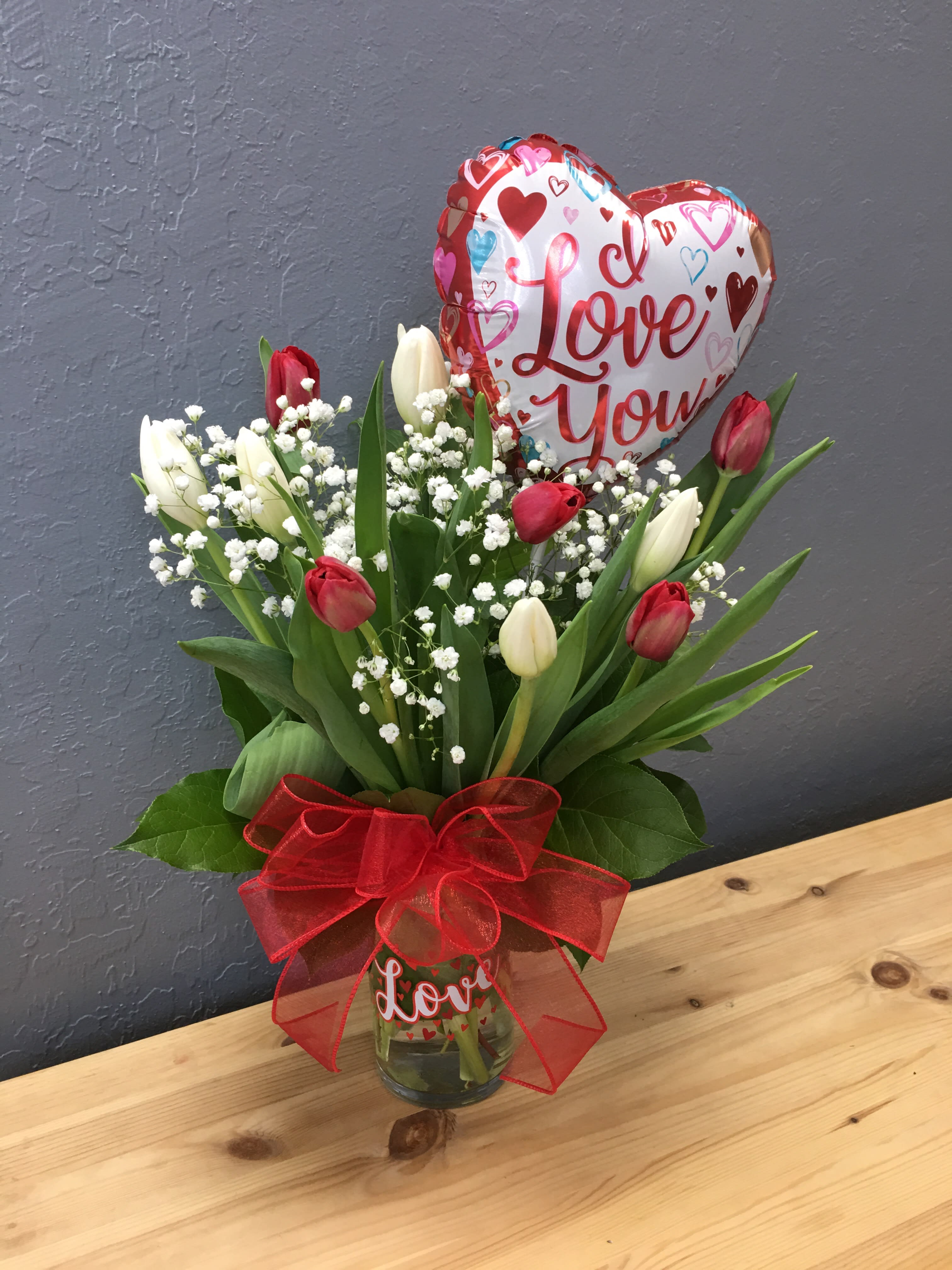 Red White Tulips With Small I Love You Balloon