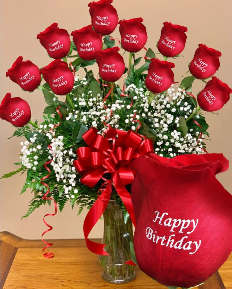 Happy Birthday 12 Personalized Roses In Las Vegas NV