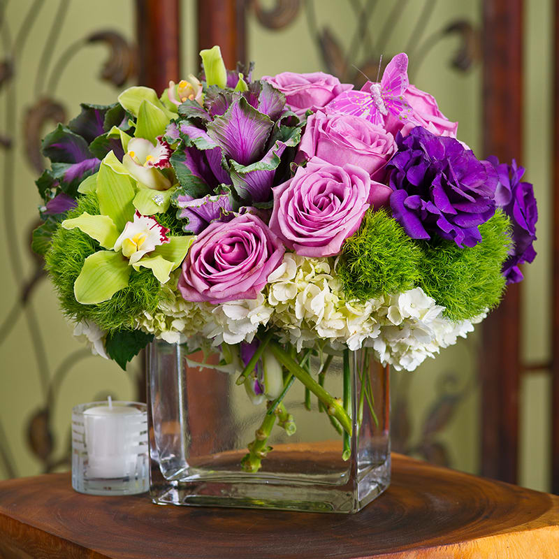 Cici Unique Flowers For Mom Lavender Roses Orchids Cabbage By Andes Florist