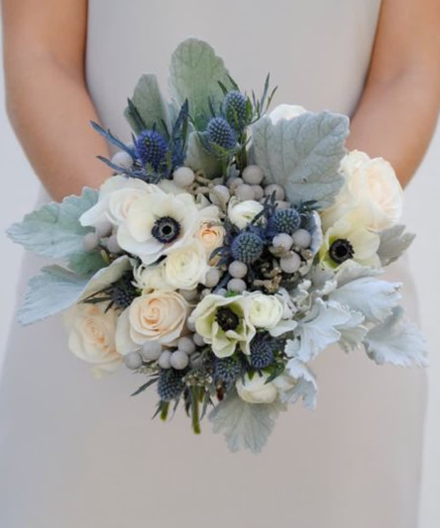 Wedding Bouquets With Blue Flowers: Dusty Blue Bridal Bouquet By VIP Floral Designs
