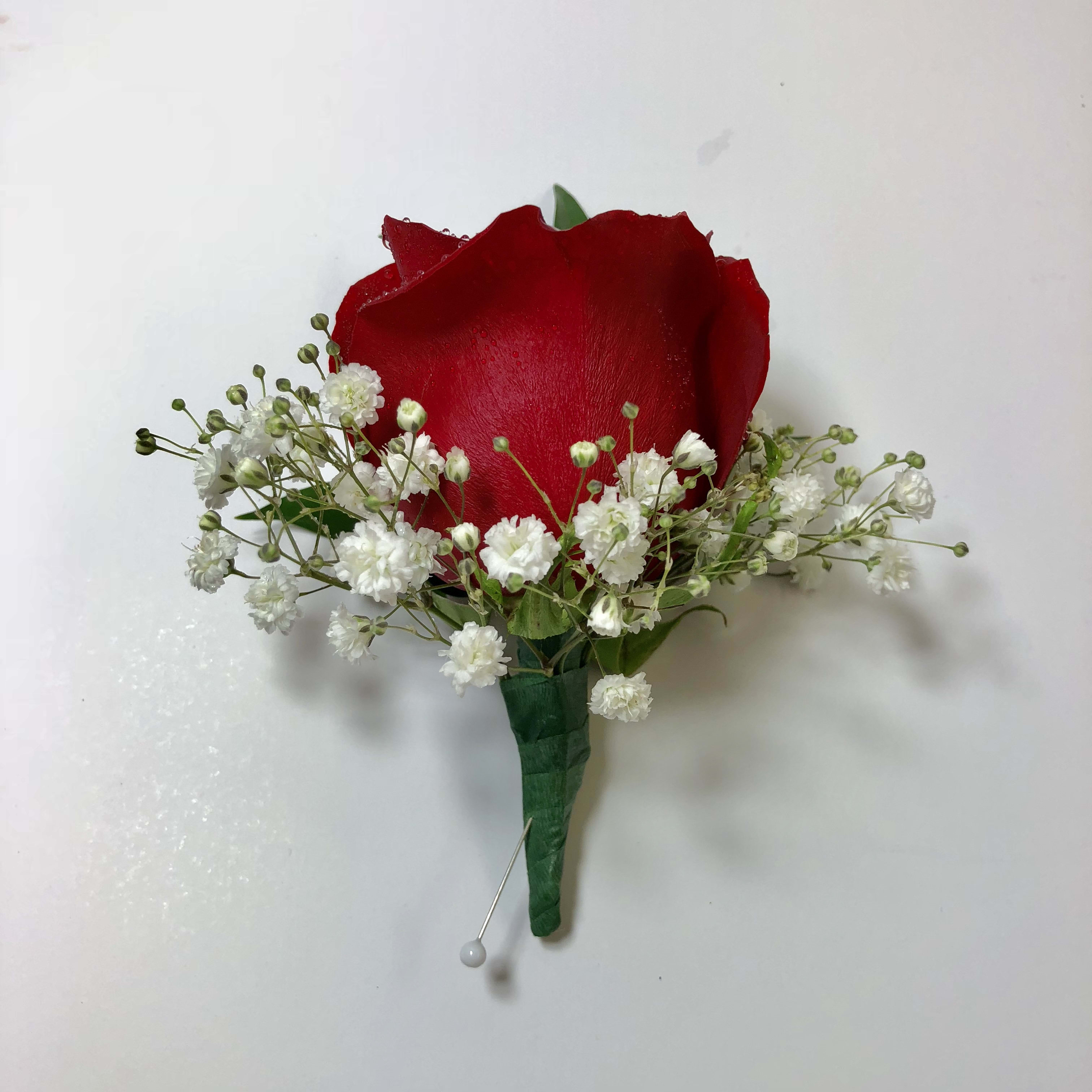 B9 Red Rose Boutonniere FG364R