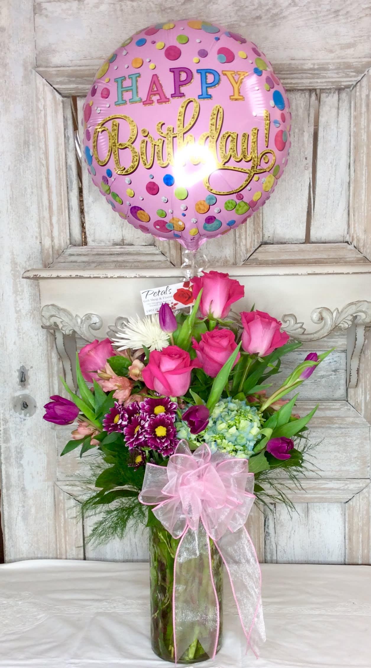Happy Birthday Balloon Flowers Designer Choice In Warwick Ri Petals Florist Gift Shop
