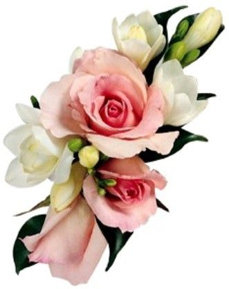98bac019b3 soft pink roses and white freesia accented with greens