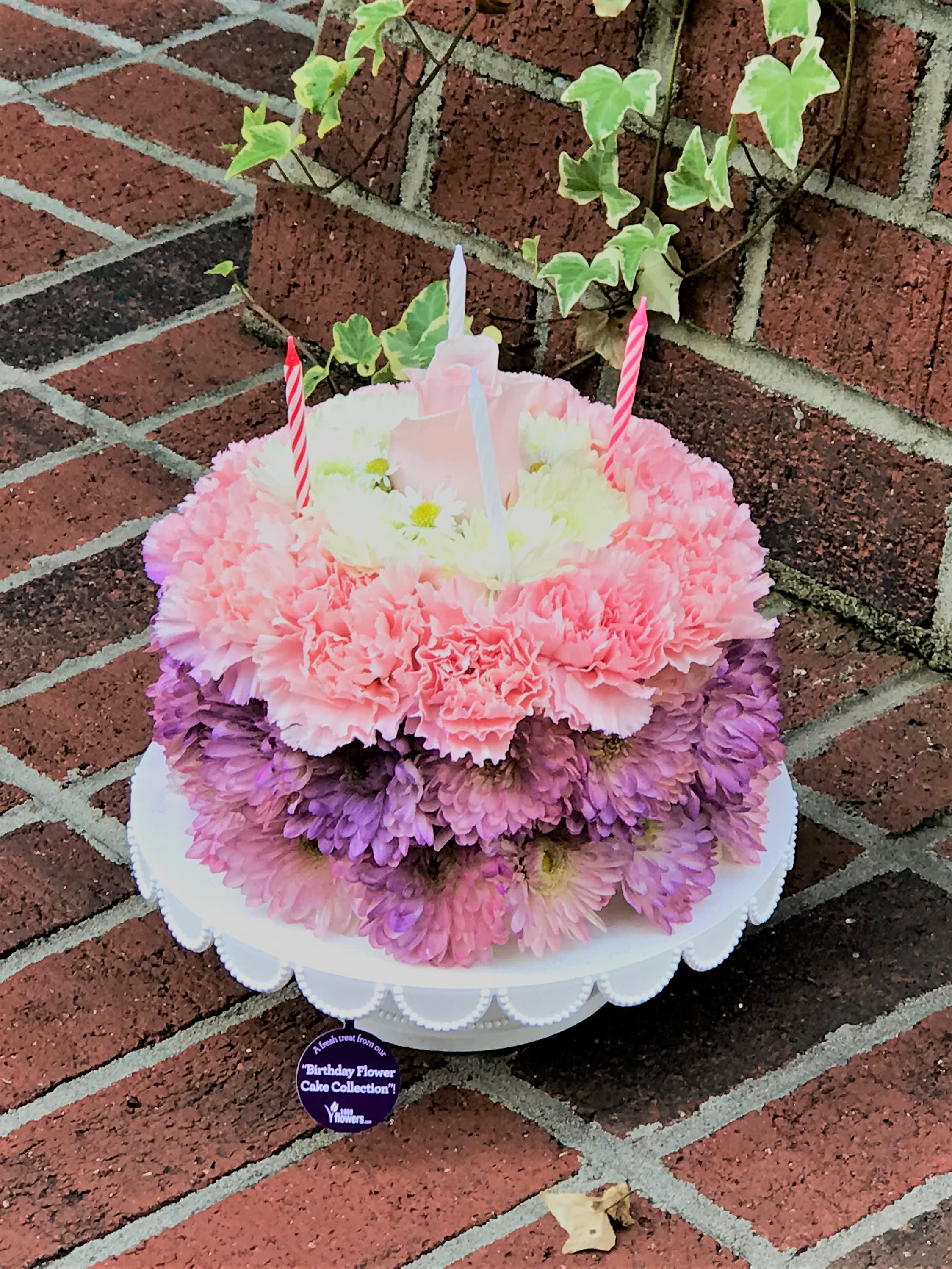 Birthday Flower Cake Made From Carnations Daisies Poms And Roses