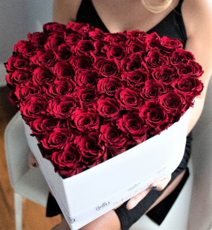 aae14e5a13a 75 Fresh Roses In Heart Box by Roses In A Box NYC