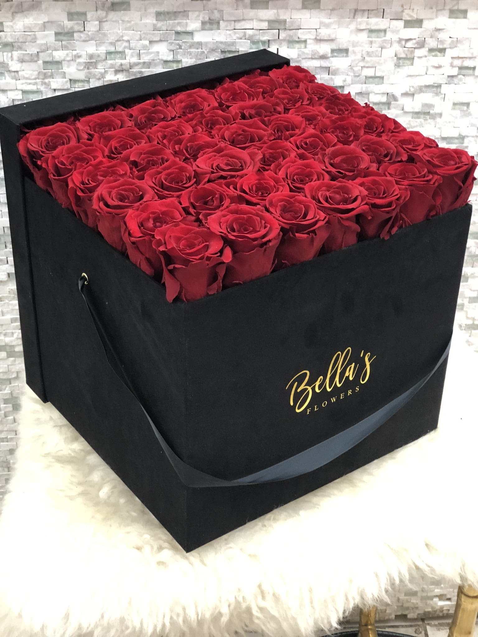 8bef531d1a7 50 Fresh Roses In Suade Box in New York, NY | Roses In A Box NYC