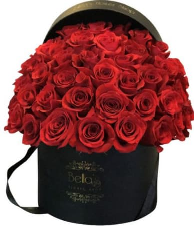 66e7c2826f8 Classic Black Hat Box - 50 Roses in New York, NY | Roses In A Box NYC