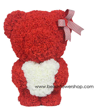 c8543230261 Styrofoam bear covered in faux roses Handmade Premium quality with window  display