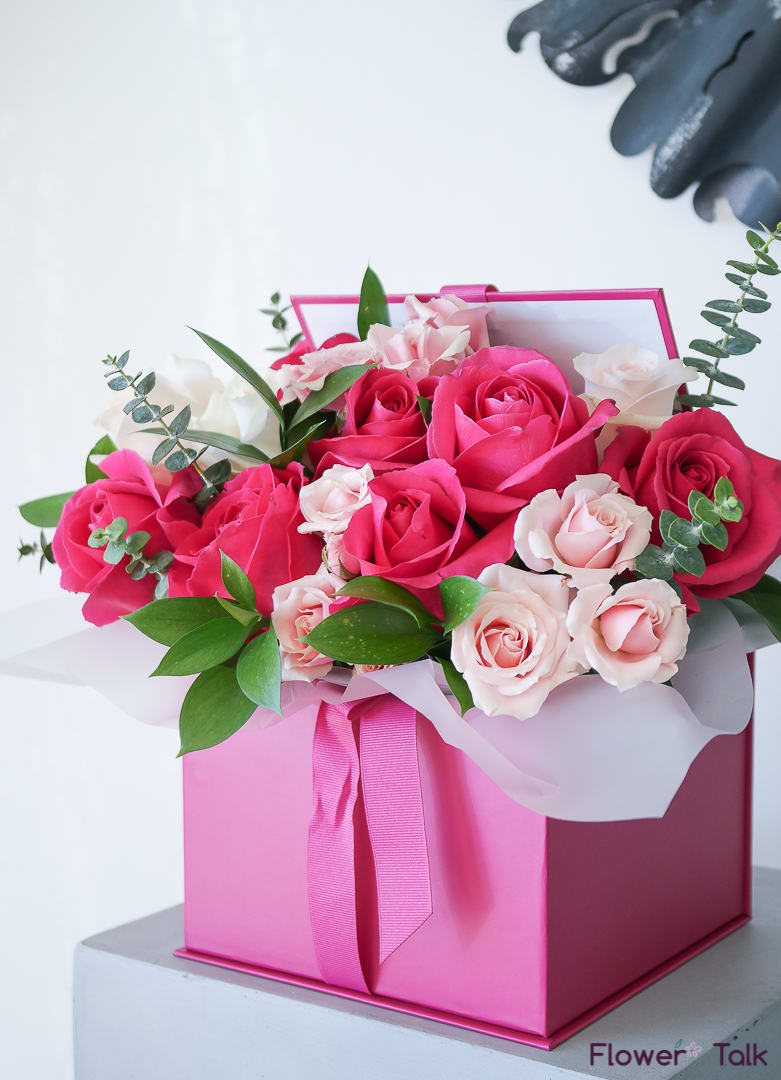 Blushing Pink Flower Gift Box by Flower Talk