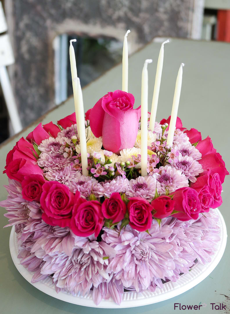 Lavender Pink Flower Birthday Cake By Talk