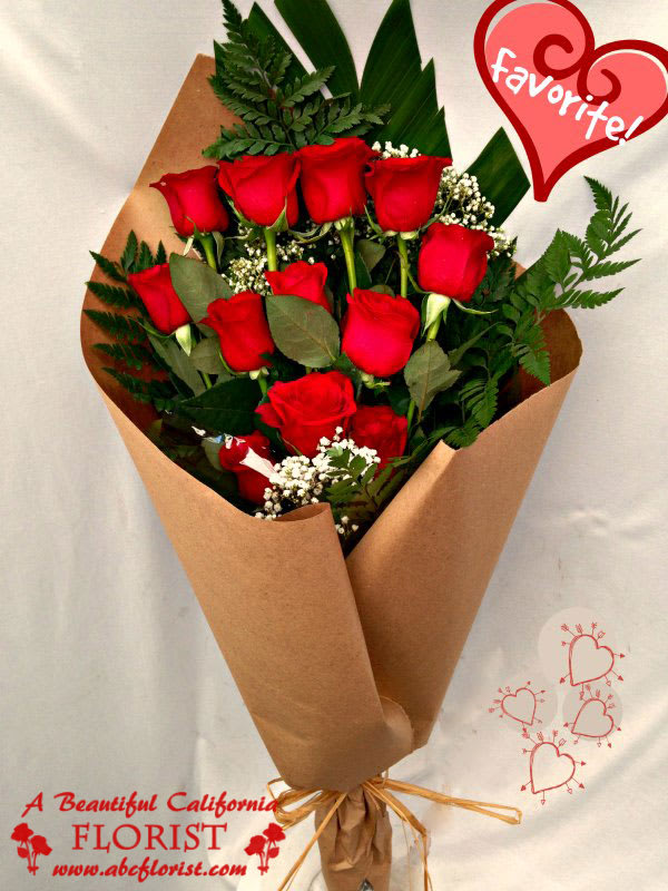 Beautiful Artisan Wrapped Red Roses Local Long Beach Flower