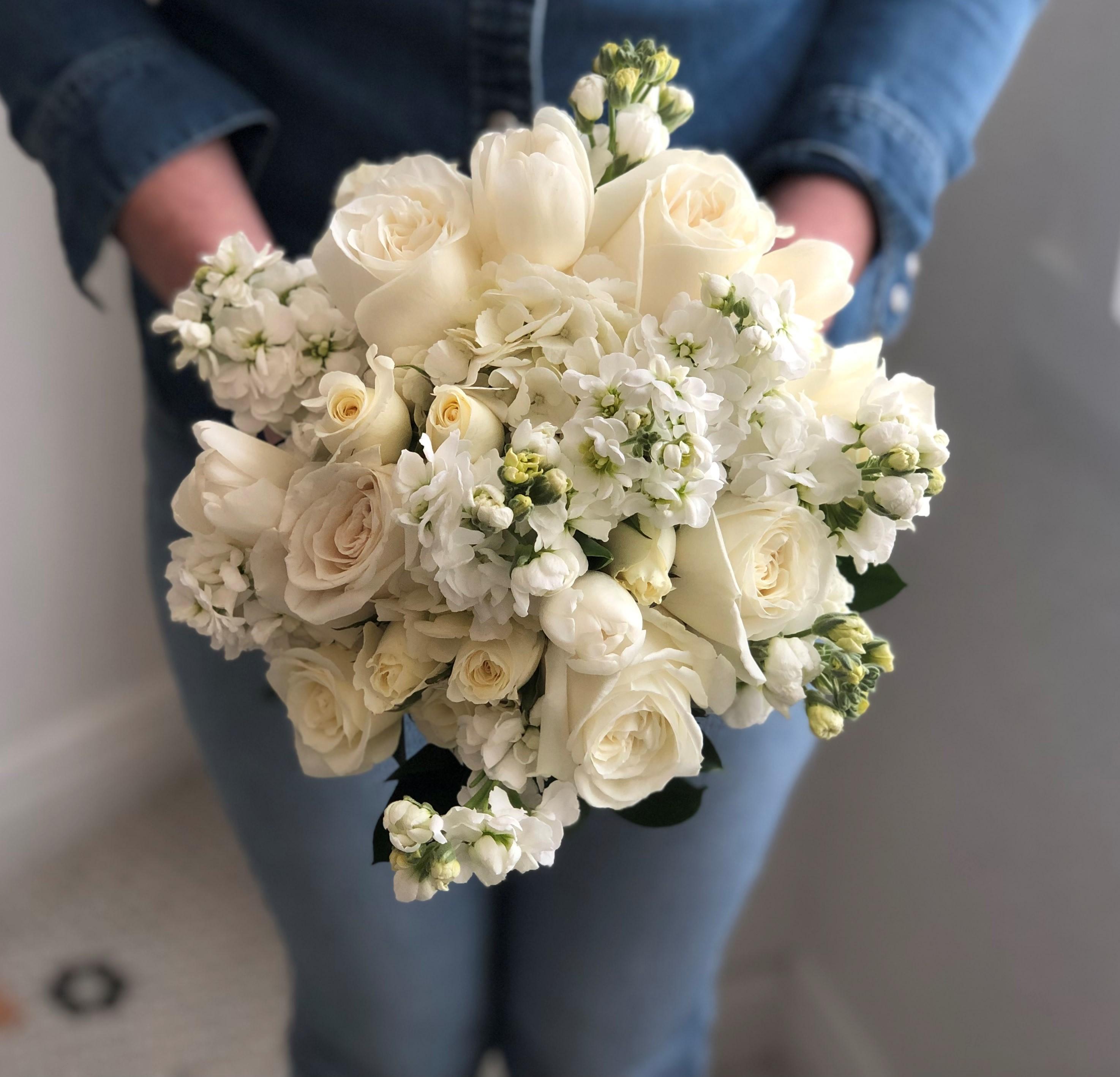 Wedding White Bouquet: Pure Hand Tied Bridal Bouquet In Las Vegas, NV