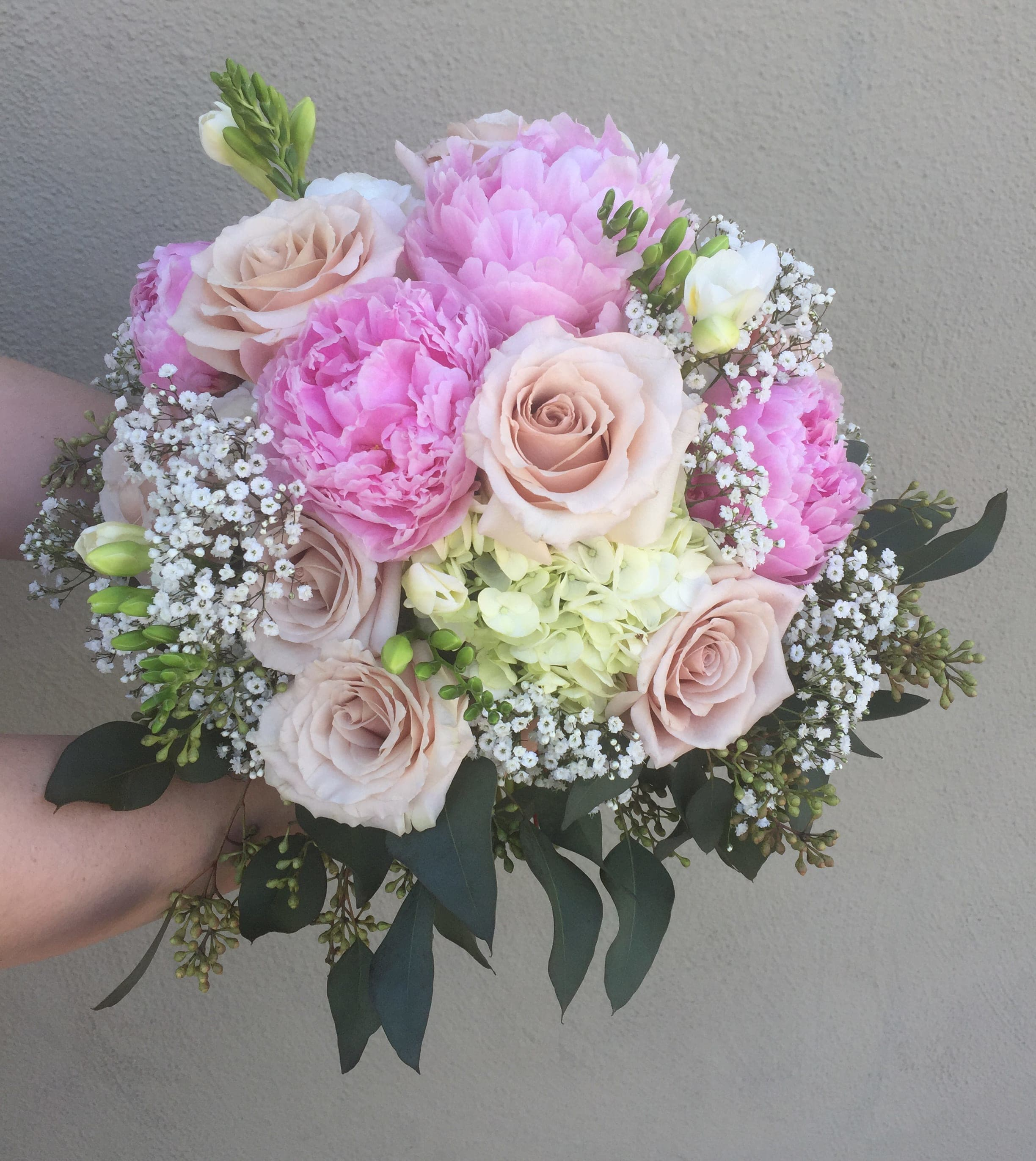 Peony And Hydrangea Bridal Bouquet In San Jose Ca Valley Florist
