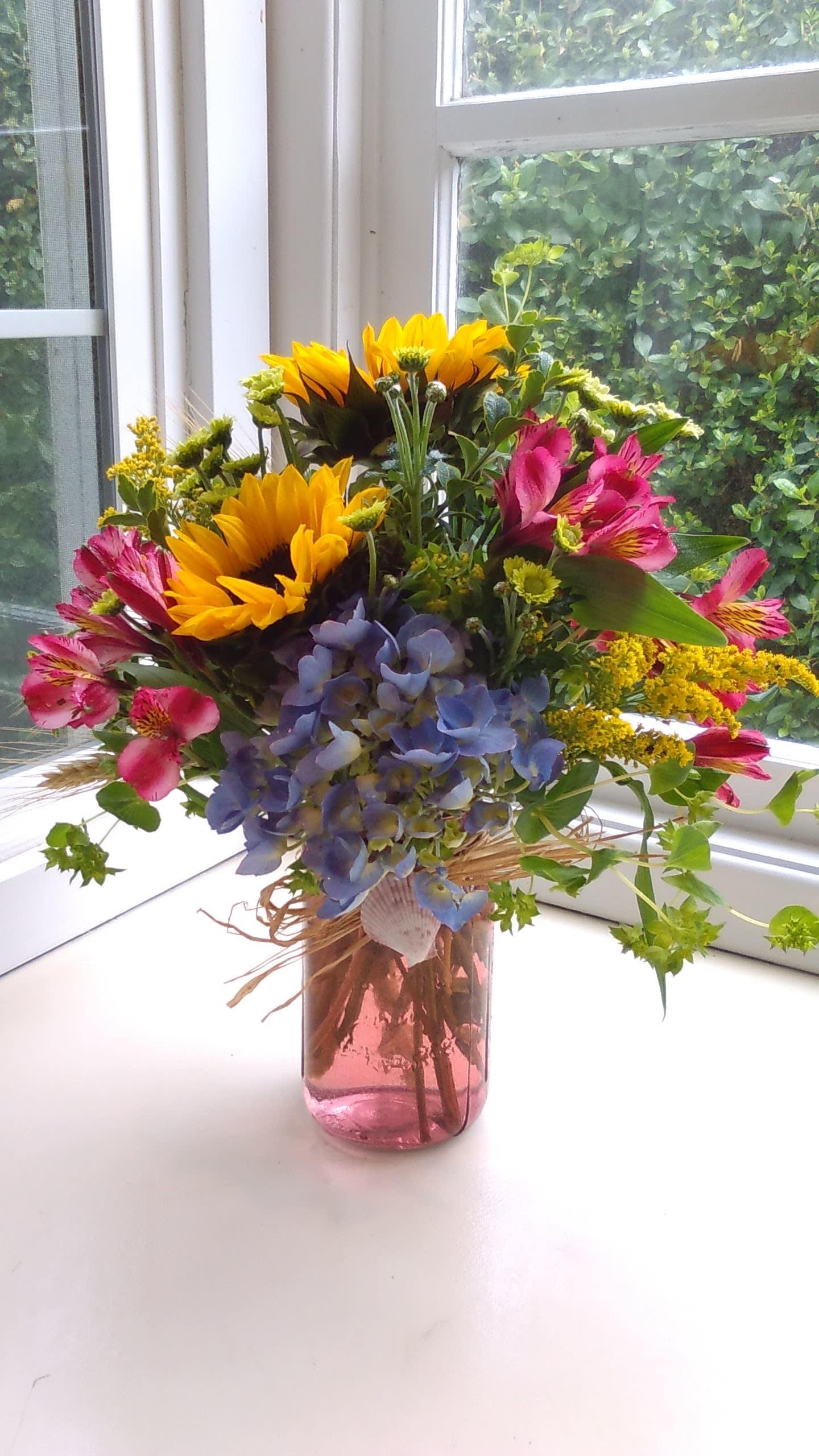 Seashell Mason Jar Of Flowers In Newport Or Newport