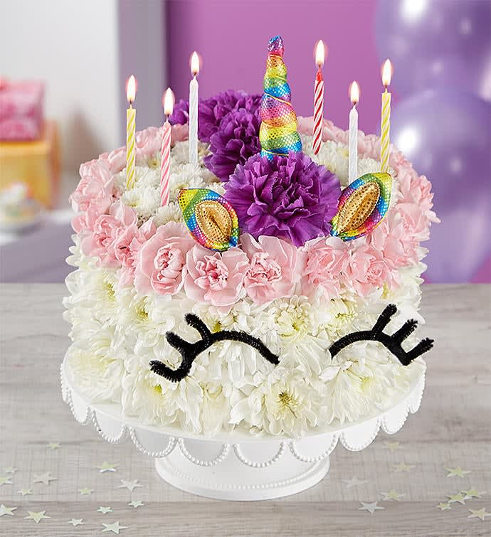 Birthday Wishes Flower Cake® Unicorn by Batts Florist